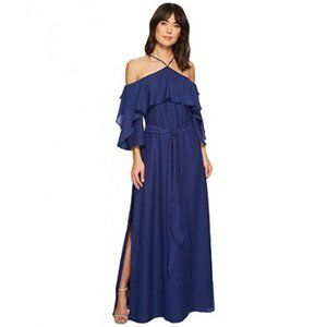 HALSTON HERITAGE Ruffled Cold-Shoulder Gown NWT